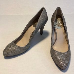 Vince Camuto bling silver glitter heels pumps 10